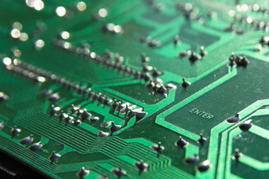Close up of part of a circuit board.
