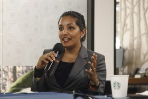 Meena Sankaran addresses the audience