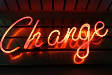 A neon 'Change' sign