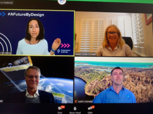 Speakers during a webinar on screen